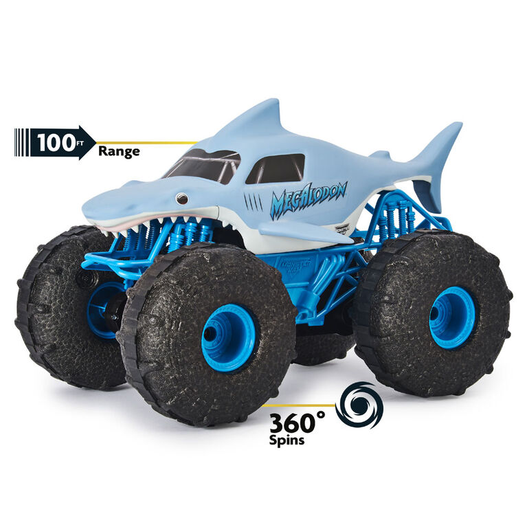 Monster Jam, Official Megalodon STORM All-Terrain Remote Control Monster Truck, 1:15 Scale