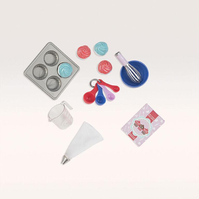 Bake Me Cupcakes Kit, Our Generation, Ensemble d'accessoires de boulangerie pour poupées de 18po