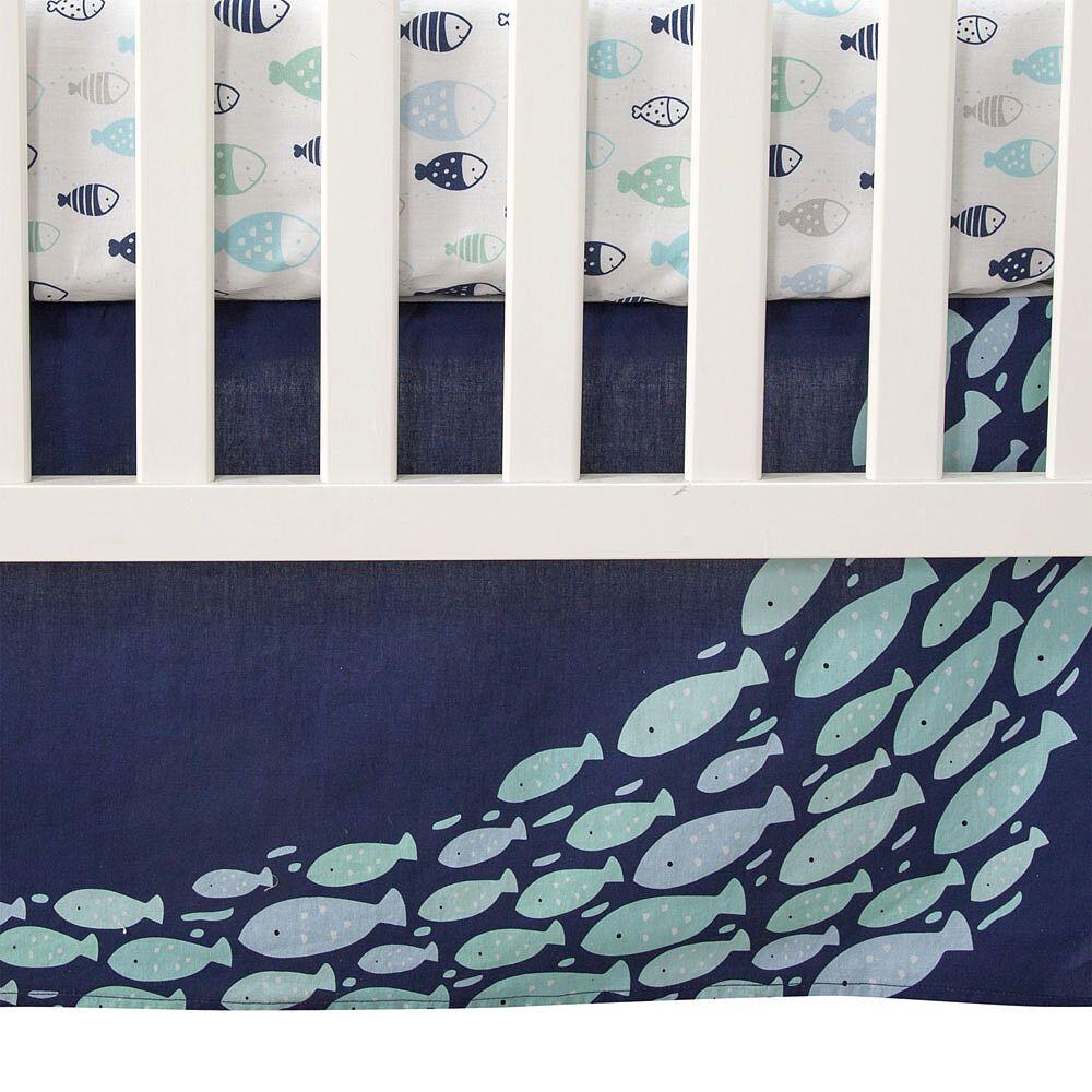 Blue Aquatic Lambs /& Ivy Oceania 6-Piece Crib Bedding Set Gray White