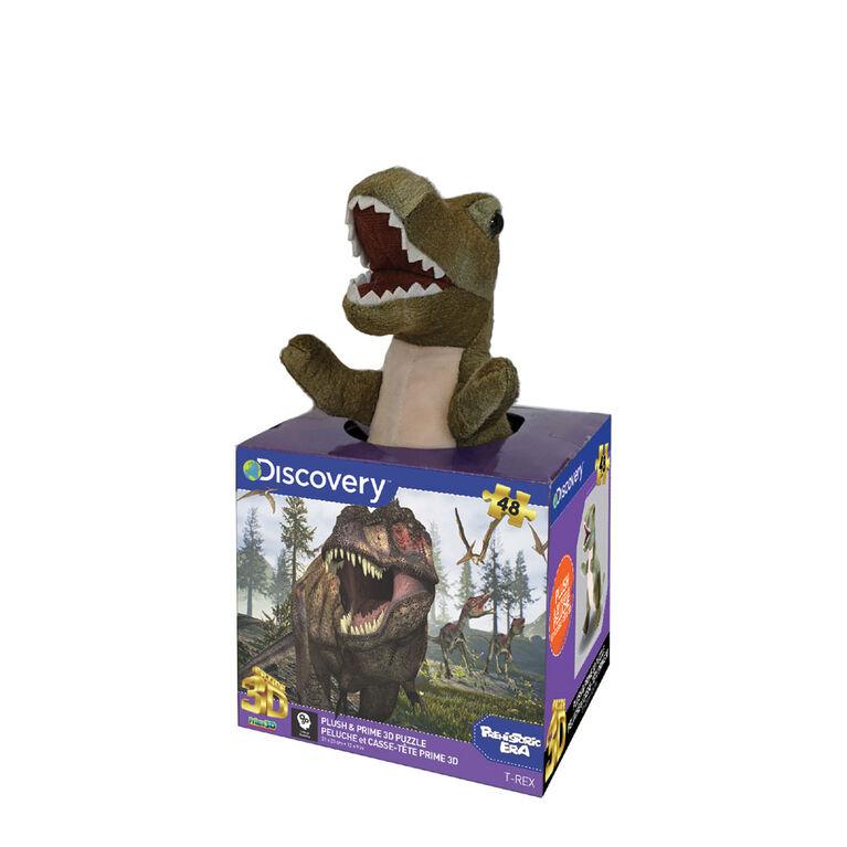 Prime 3D: Puzzle de découverte du tyrannosaure avec peluche - 48 pièces