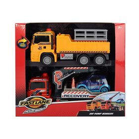 Fast Lane Pump Action Worker with Crane Truck Twin Pack
