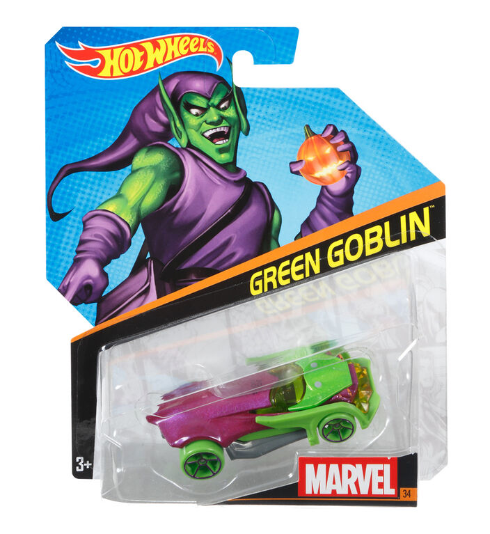 Hot Wheels Marvel Character Car - Green Goblin