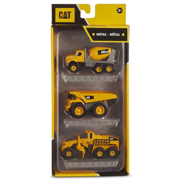 Cat Metal 3 Pack Concreate Mixer, Dump Truck, Grader