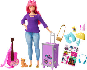 Barbie Daisy Doll, Pink Hair, with Kitten, Guitar, Opening Suitcase, Stickers and 9 Accessories