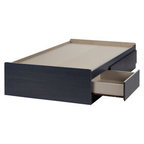 Aviron Mate's Platform Storage Bed with 3 Drawers- Blueberry