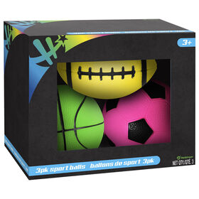 3 Pack Neon Sports Balls