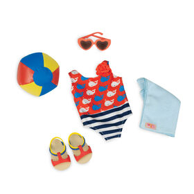 Our Generation, Having A Ball, Beach Ball and Swimsuit Outfit for 18-inch Dolls - English Edition