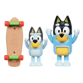 Bluey Figure 2 Pack- Skateboard - Bluey and Bandit
