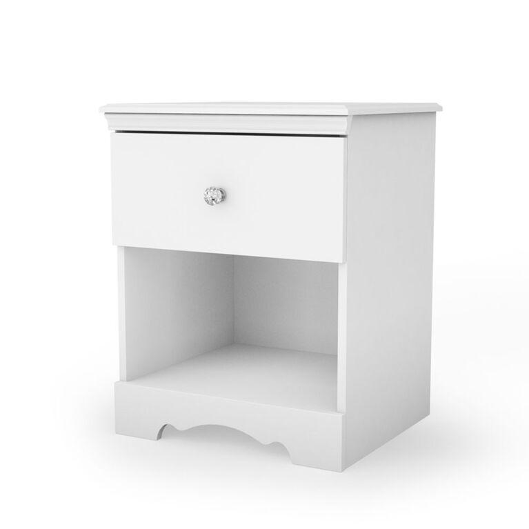 Crystal Table de chevet 1 tiroir- Blanc solide