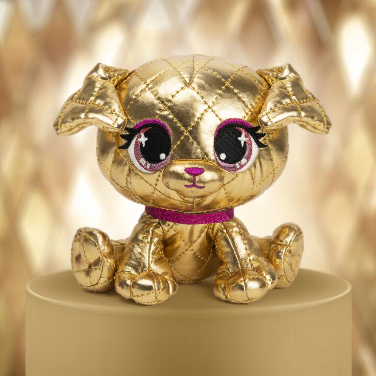 GUND P.Lushes Designer Fashion Pets, édition limitée Goldie La'Pooch, chienne en peluche de luxe douce et élégante, or et rose, 15,2 cm