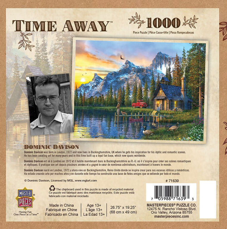 MasterPieces -Time Away Living the Dream - Log Cabin 1000 Piece Jigsaw Puzzle