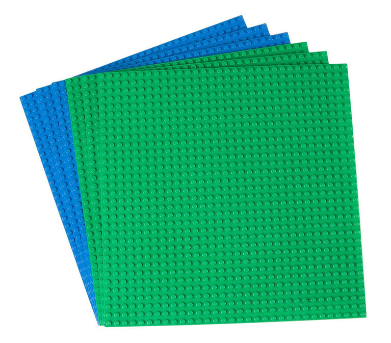 """Strictly Briks - Stackable Baseplates - 10"""" x 10"""" - 32 x 32 pegs - 6 Baseplates - Blue, Green"""