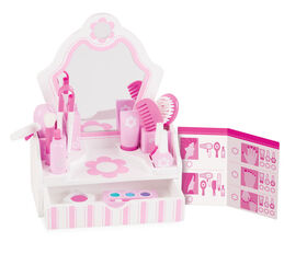 Melissa & Doug Wooden Beauty Salon Play Set With Vanity and Accessories 18 Pieces