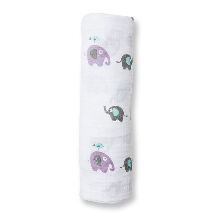 Lulujo Muslin Cotton Swaddle - Elephants