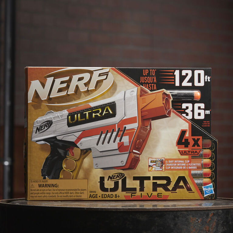 Nerf Ultra Five Blaster - 4-Dart Internal Clip, 4 Nerf Ultra Darts, Dart Storage - Compatible Only with Nerf Ultra Darts