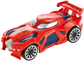 Hot Wheels - Marvel - Véhicule Flip Fighters - Spider-man - Les styles peuvent varier.