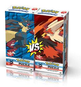 Pokemon XY Foil Kids 100-Piece Jigsaw Puzzles: Mega Lucario vs. Mega Blaziken