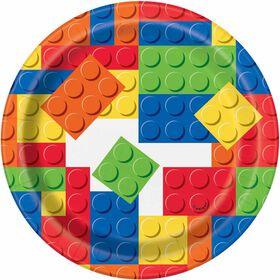 "Building Blocks  7""  Plates, 8 pieces - English Edition"