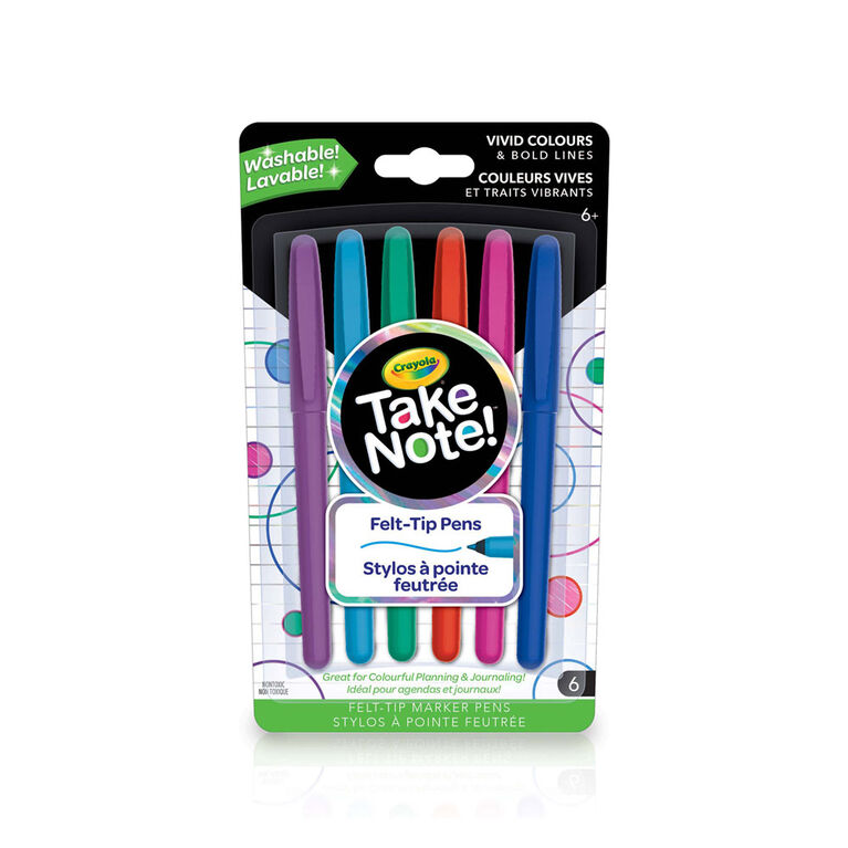 6 stylos à pointe feutrée lavables Crayola Take Note!