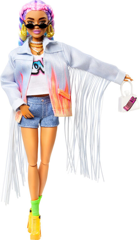 Barbie Extra Doll in Long-Fringe Denim Jacket with Pet Puppy