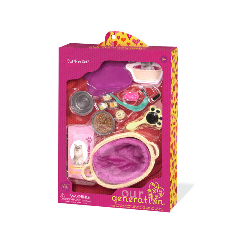 Our Generation, Cat Pet Set Accessory for 18-inch Dolls