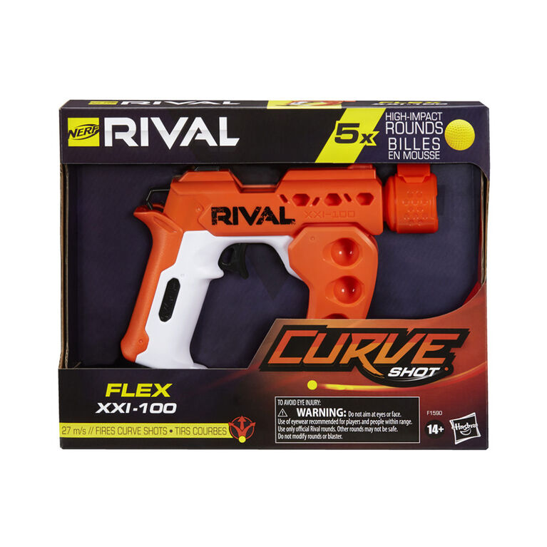 Nerf Rival Curve Shot -- Flex XXI-100 Blaster -- Fire Rounds to Curve