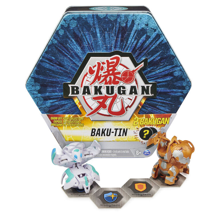 Bakugan Baku-Tin, Boîte de rangement de collection avec 2 Bakugan mystère (plusieurs modèles disponibles) - Notre exclusivité