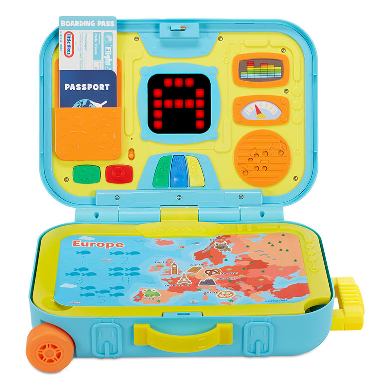 Little Tikes Learning Activity Suitcase Roll and Go Interactive LCD Screen with Music Songs Sounds Travel Phrases to Develop Letters Numbers Shapes and Roleplay for Children Kids Boys Girls Ages 2+