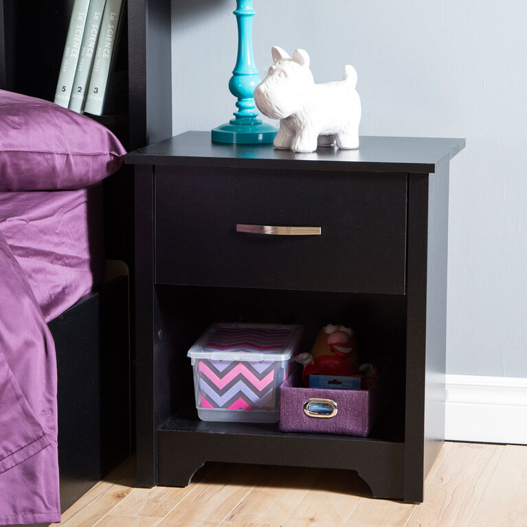 Fusion 1-Drawer Nightstand - End Table with Storage- Pure Black