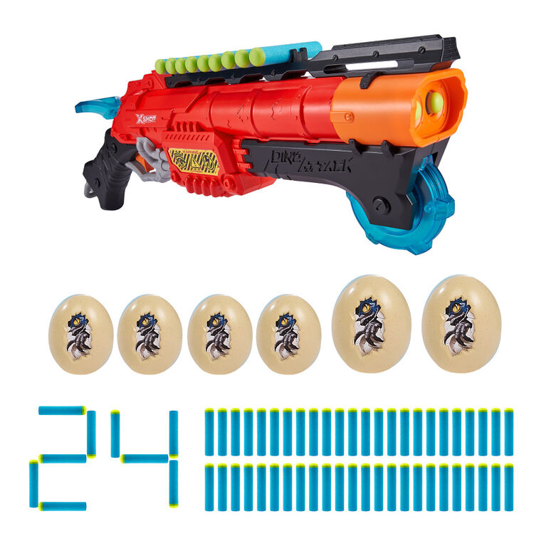 X-Shot Dino Attack Claw Hunter Foam Dart Blaster (24 Darts, 6 Eggs)