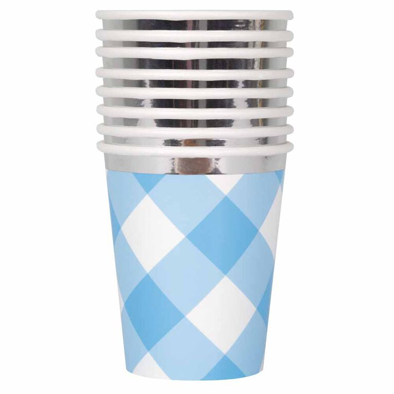 Blue Gingham 1st Bday 9oz Paper Cups 8 pieces