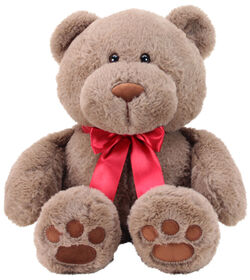 "Animal Adventure 13"" Seated Ultra-Soft Plush Bear with a Red Ribbon"