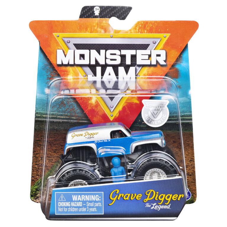 Monster Jam, Monster truck authentique Grave Digger en métal moulé à l'échelle 1:64, série Retro Rebels