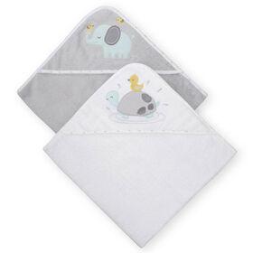 Koala Baby 2-Pack Hooded Towel, Grey Turtle and Elephant