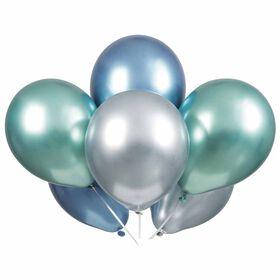 "6 Blue Green Silver Platin 11"" Latex Balloons"
