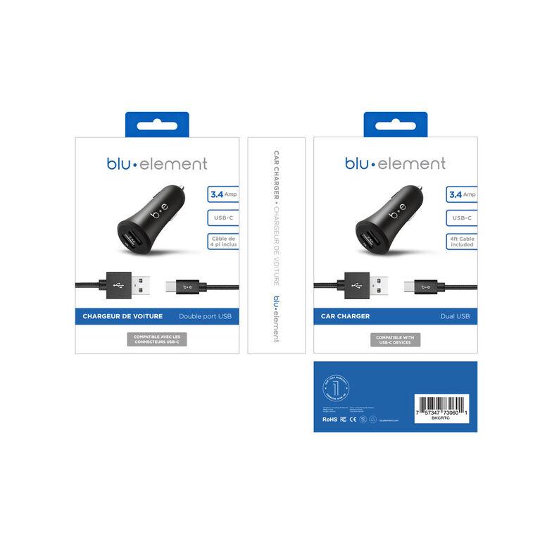Blu Element Dual USB Car Charger 3.4A w/USB-C Cable Black