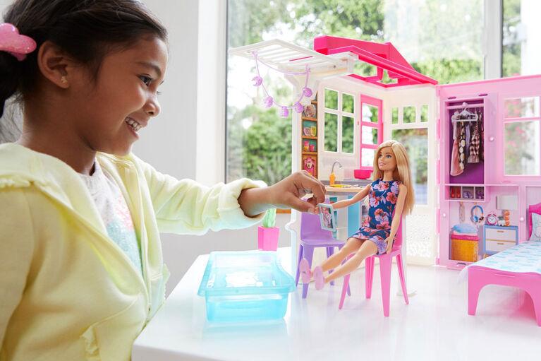 Barbie - Maison de poupées portative avec poupée