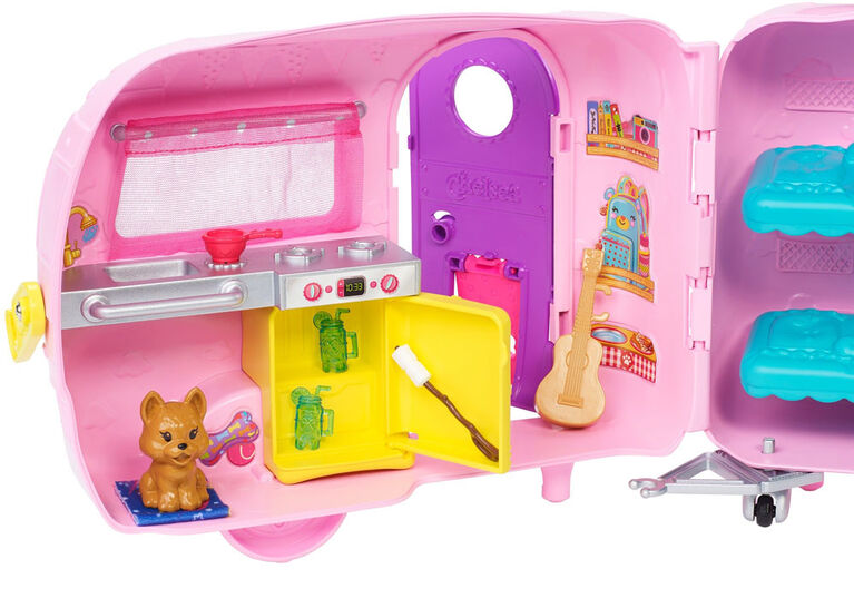 Barbie Club Chelsea Camper Playset with Doll, Puppy, Car, Transforming Camper and Accessories