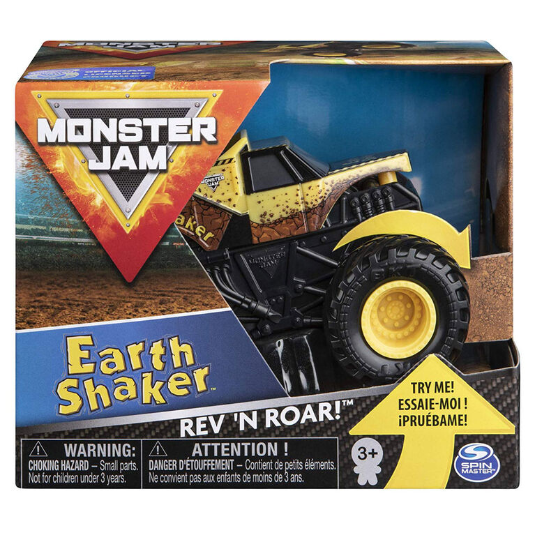 Monster Jam, Official Earth Shaker Rev 'N Roar Monster Truck, 1:43 Scale