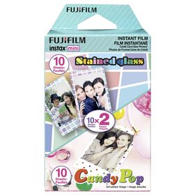 Fujifilm Instax Mini Film -Party Pack (Candypop & Stained Glass -  20 Exposure)
