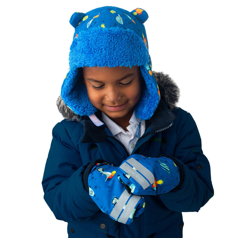 FlapJackKids - Toddler, Kids, Boys Water Repellent Ski Mittens - Ribbed Cuffs - Dino/Blue - Large 4-6 years