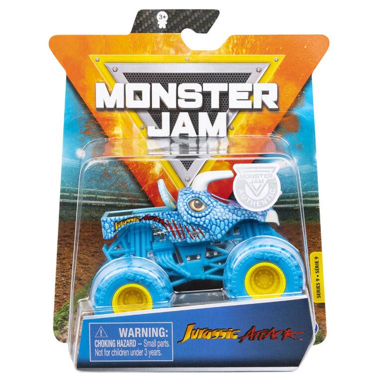 Monster Jam, Monster truck Jurassic Attack, véhicule en métal moulé, série Nitro Neon, échelle 1:64