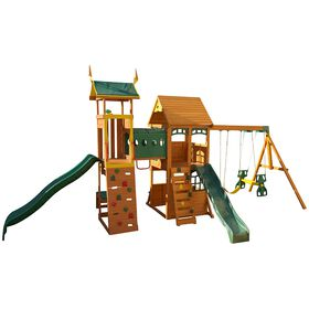 KidKraft Yellowstone Lodge & Adventure Tower Wooden Swing Set