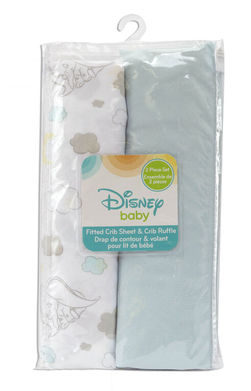 Disney Baby Fitted Crib Sheet & Crib Ruffle- Dumbo