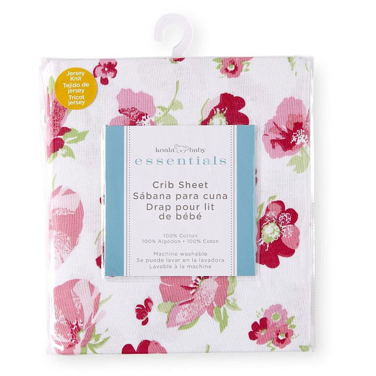 Koala Baby Essentials Pink Poppy Percale Fitted Crib Sheet