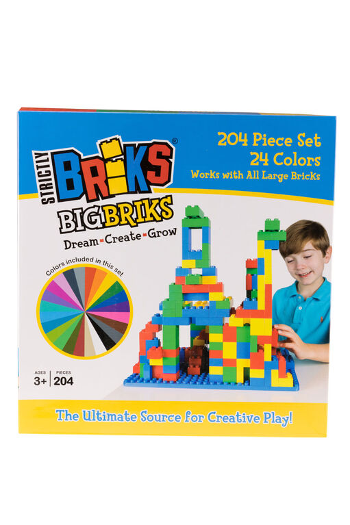 Strictly Briks - Big Briks - 204 Pieces - Blue, Green, Red, Yellow