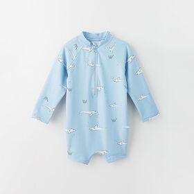 wavy baby rashguard shorty, 9-12m - light blue