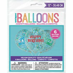 """Clear Latex Balloons with Bright Confetti 12""""6 pieces - English Edition"""