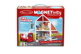 Melissa & Doug 74-Piece MAGNETIVITY Magnetic Building Play Set – Fire Station with Fire Truck Vehicle