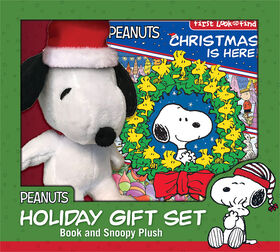 Ensemble cadeau des Fêtes: Noël est arrivé!- Mon premier livre d'activités Cherche et trouve et peluche de Snoopy! - Édition anglaise
